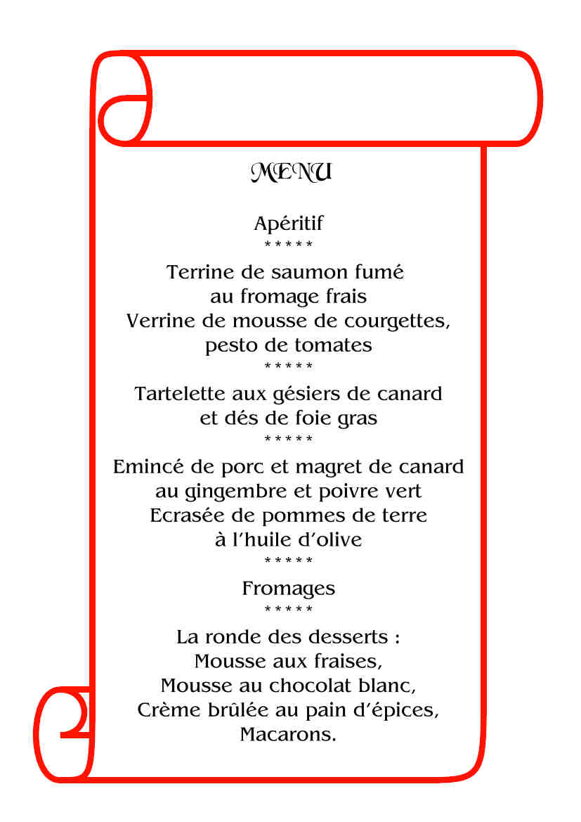 exemple de repas de noel LES PASSIONS DE MAMIE » LE MENU DE NOËL exemple de repas de noel