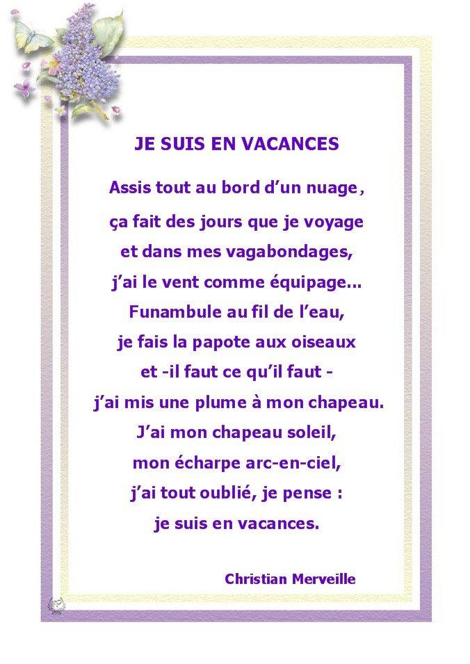 Sehr LES PASSIONS DE MAMIE » JE SUIS EN VACANCES (Poèsie) IA07