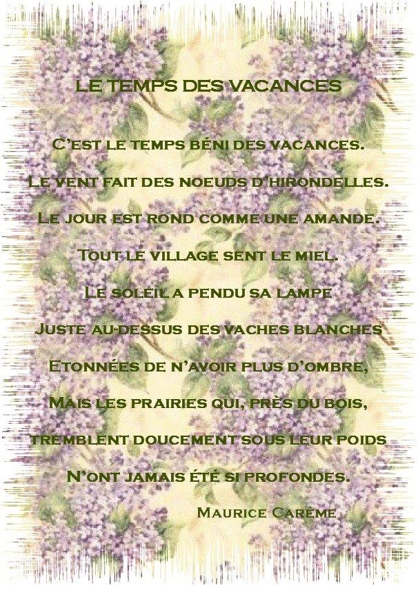 Sehr LES PASSIONS DE MAMIE » LE TEMPS DES VACANCES (Poèsie) IA07