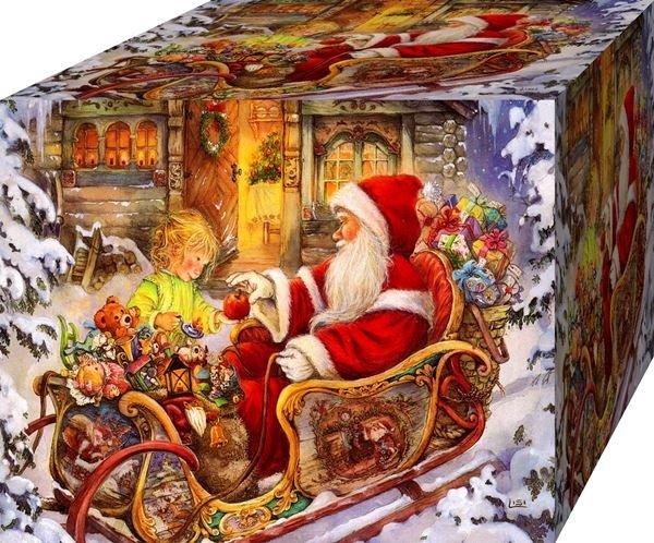 Nice Christmas Wallpaper Santa Claus. Joli fond d ecran de Noel. Pere Noel avec son traineau.