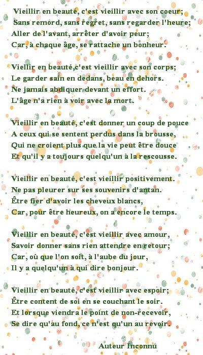 Poème Vieillir en beauté